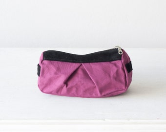 Accessory bag in raspberry canvas and black suede leather, makeup bag accessory bag pencil pouch - Estia Bag