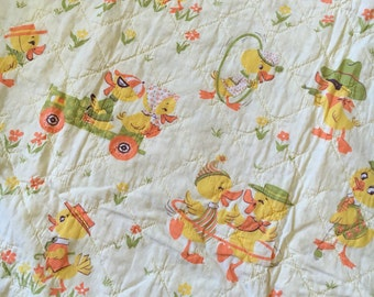 "1940's Vintage Baby Quilt, yellow, hand quilted, prairie point, duckie, 44"" x 54"" **free  FRE shipping to us addresses only**"