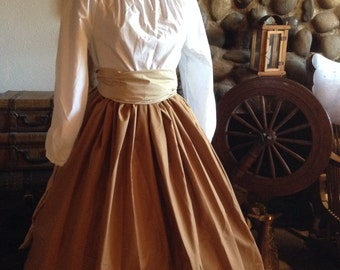 Civil War Colonial Prairie Pioneer Tan skirt blouse-Women's 3 Piece
