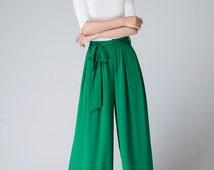 wide leg pants, Green chiffon pants ,maxi women's pants, long pants ,ladies trousers(1516)