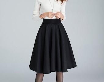 Wool circle skirt, black skirt, pleated skirt, knee length skirt, winter skirt, womens skirts, mini skirt, classic skirt, made to order 1633