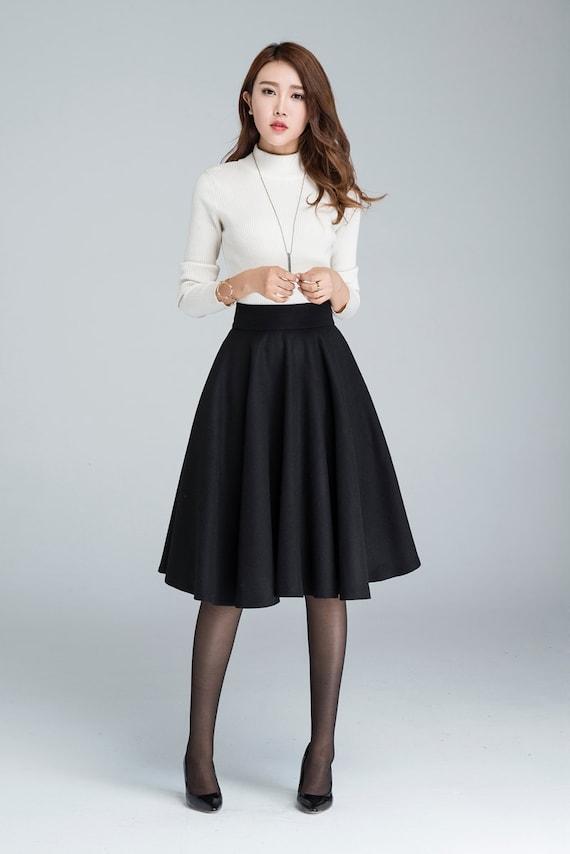 Wool circle skirt black skirt pleated skirt knee length