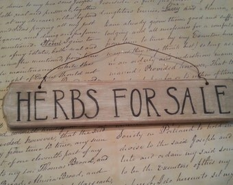 Herbs for sale, Wooden Sign, With Wire Hanger