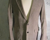 Vintage Retro Corduroy Suit Jacket Brad Whitney Size 38 R Regular Gray with Lining Elbow Patches