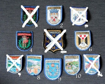 Scotland B - girl guides/girl scouts vintage travel destination badges, you choose one