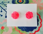 Pink Rose Earrings - Sparkling Blooms - beach jewelry - SALE - perfect gift - Summer - bridesmaids - weddings - sale