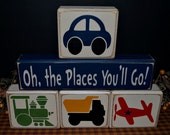 Oh The Places You'll Go children's personalized wood blocks sign