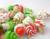 Polymer Clay Christmas Food Charms, Set of 7