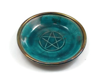 RAKU  Pentagram  Pentacle offering Bowl Handmade Pottery