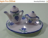 50% OFF SUPER SALE - Porcelain Mini Teapot, Sugar Pot and Tray Bead Charm for your Projects