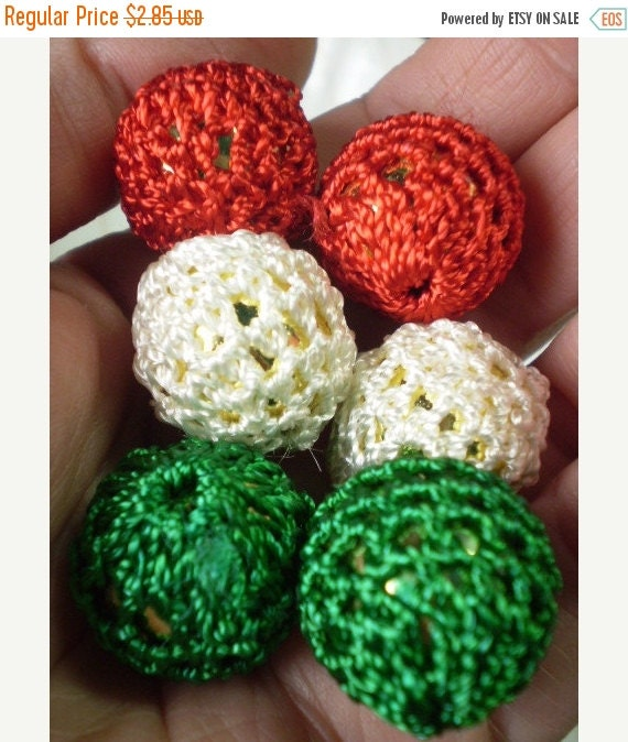 50% OFF - 6 pcs Crochet Beads ITALY Flag color