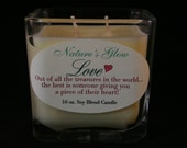 LOVE Soy Candle - Candle Message - Cube Soy Blend Candle - Love Candle Quote- Square Jar Candle - Glass Cube Candle - Valentine Candle