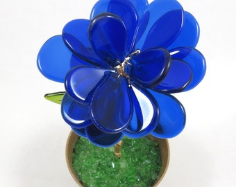 50% OFF SALE! Recycled Bottle Glass Flower in Flower Pot, Cobalt Blue, Fused and Wired Glass
