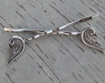 Bobby Pins, Hair Pins, Angel Pins, Angel Wing Pins, Wing Hair Clips, Angel Wings, Wedding Hair Pins, Wedding Hair Clips, Silver Hair Pins