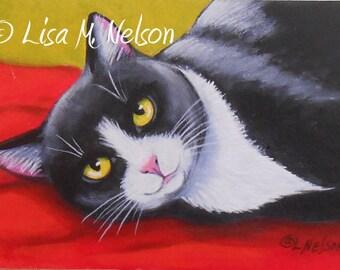 Original Tuxedo Cat on Red Blanket Acrylic Painting Art Miniature Mounted ACEO ATC