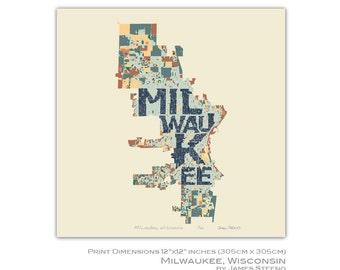 Milwaukee, Wisconsin Art Map Print (MKE) by James Steeno