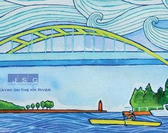 Kayak on the KK River – Milwaukee, Wisconsin Watercolor Art Print by James Steeno