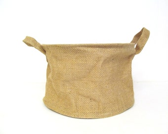 Burlap Basket for Crafting, Natural Jute Soft Handle Container for Crafting, Painting, Embellishment