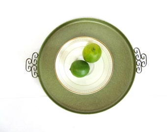 Mid Century Round Tray, Green Kyes Moire Glaze Greek Key Handles,