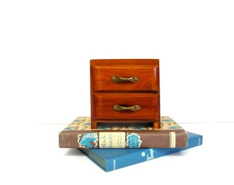 Vintage Wooden Two Drawer Box, Miniature Chest of Drawers, Knotty Pine Small Storage Box