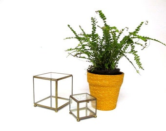 Vintage Brass and Glass Cubes,  Box Pair