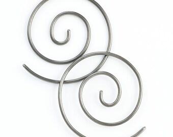 1 Pair Handmade 12 gauge Swirls Earrings - You Pick Metal