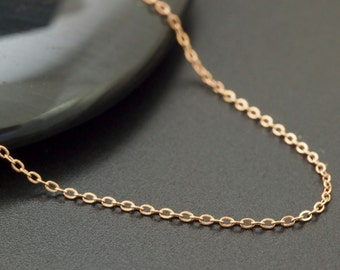 1mm 14kt Rose Gold Filled Flat Cable Chain - Fine Flat Cable - By the Foot or Finished -  Made in the USA
