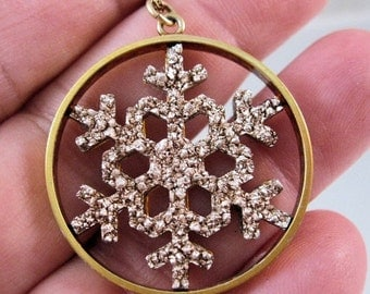 "15% OFF SALE Vintage 12K Gf Snow Flake Pendant Necklace 20"" Jewelry Jewellery"
