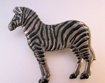 BIGGEST SALE of the Year Vintage Zebra Pin Brooch Enamel Silver Tone Costume Jewelry Jewellery