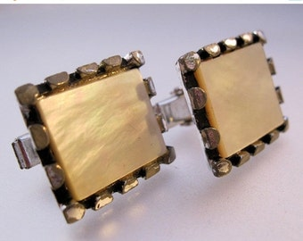 HALLOWEEN SALE Vintage Mother of Pearl Signet Cuff Links Silver Tone