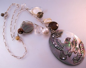 Eagle Hand Carved Abalone & Charm Sterling Silver Necklace Vintage Jewelry Jewellery FREE SHIPPING