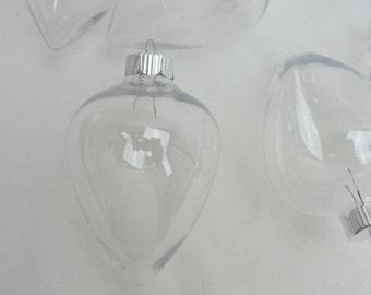 Plastic fillable tear drop ornament diy set of 6