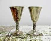 Silver Cordial cup goblets from J. Perez Ruiz, bride groom wedding toast gothic