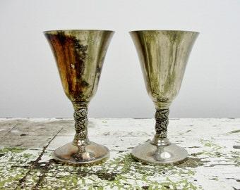 Silver Cordial cup goblets from J. Perez Ruiz, bride groom wedding toast gothic