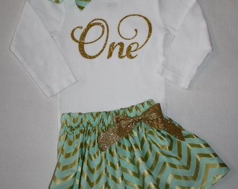 gold and mint green girls first birthday outfit glitter 1st birthday outfit cake smash outfit glitter gold one first birthday bodysuit skirt