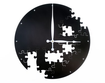 Puzzle V, Large Wall Clock, Unique Wall Clock, Modern Wall Clock, Steampunk, Industrial Decor, Metal Wall Art, Big, Giant, Laser Cut, Black