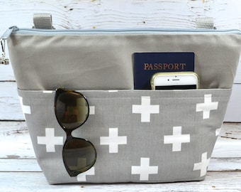 Camera bag by Darby Mack - Grey Watrerproof, purse insert for your purse, made in USA, Red Cross print