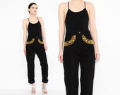 80s 90s Black Jeans Gold Studded + Bejeweled Denim 1980s High Waist Tapered Skinny Mom Jean Medium M