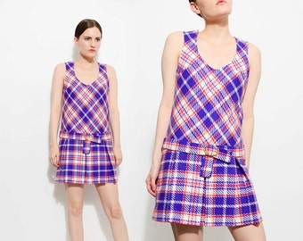 Vintage 60s Checkered Plaid SCOOTER Mod Twiggy School Girl 1960s Belted Drop Waist Pleated Mini Dress White Purple Orange XS S