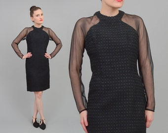 Vintage 60s Black Dress | Cut Out Mod Dress | Sheer Mesh Long Sleeve Dress | 1960s Minimalist Knee Length Party Cocktail Dress | XS S