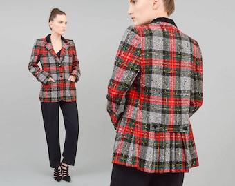 Vintage 70s Plaid Jacket Scottish Tartan Blazer 1970s Wool Jacket Tailored Preppy Blazer Red Black - size Medium M
