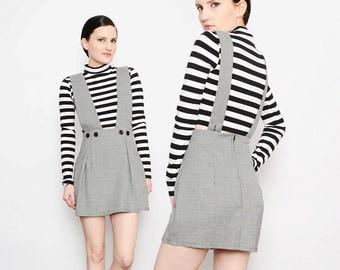 80s 90s Houndstooth Suspender Skirt School Girl Jumper High Waisted Skirt Retro Wiggle Mini Skirt Black White Small Medium S M