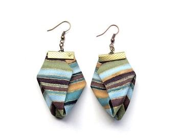 LetsPartySale Big spring origami earrings, pastel stripes origami earring, TAFA member origami earrings