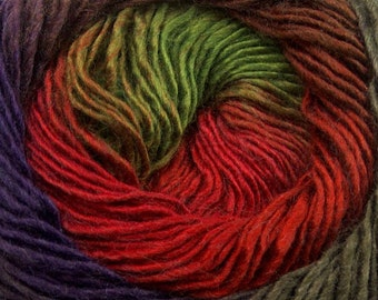 Primadonna Renaissance Ice #40631 Fine Baby Weight Self-Striping Wool Acrylic Blend Yarn 100 gram 328 yards Red Green Purple Brown + Sport