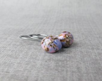 Purple Wisteria Earrings, Small Dangle Earrings Purple, Mottled Purple Earrings, Dark Silver Wire Dangle, Lampwork Earrings, Sterling Silver