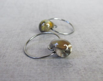 Olive Swirl Hoop Earrings, Small Brown Hoops, Green Hoops, Small Dark Wire Earrings, Wire Hoops, Earthy Earrings, Oxidized Sterling Silver