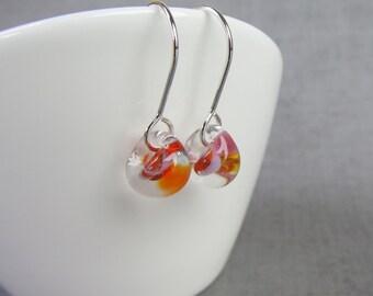 Mottled Coral Small Earrings, Small Dangles, Silver Wire Earrings, Orange Pink Glass Drop Earrings, Lampwork Earrings, Sterling Silver