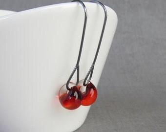 Fire Red Earrings, Long Wire Dangle Earrings, Red Dangles, Lampwork Earrings Red, Dark Silver Wire Earrings Red, Oxidized Sterling Silver
