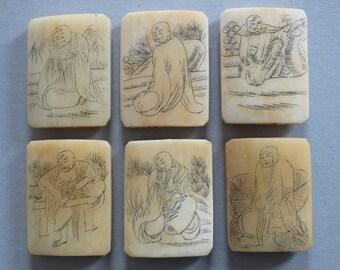 Scrimshaw Bone Buddha Beads - Lot Of 6 - SB15