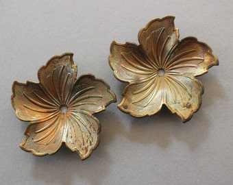 Vintage Oxidized Brass Flower Findings